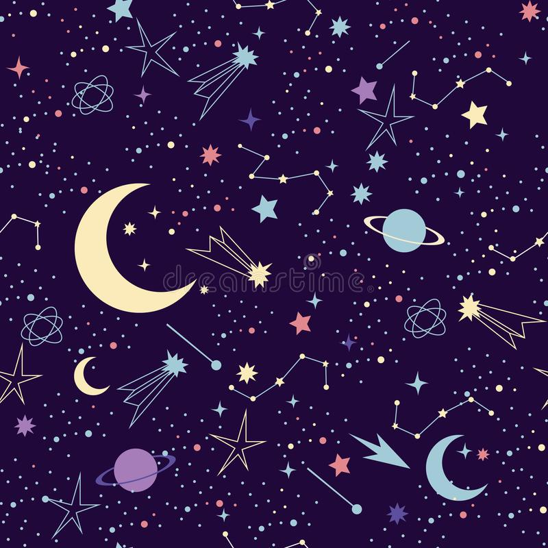 också vektor för coreldrawillustration Sömlös modell för utrymmegalaxkonstellation royaltyfri illustrationer