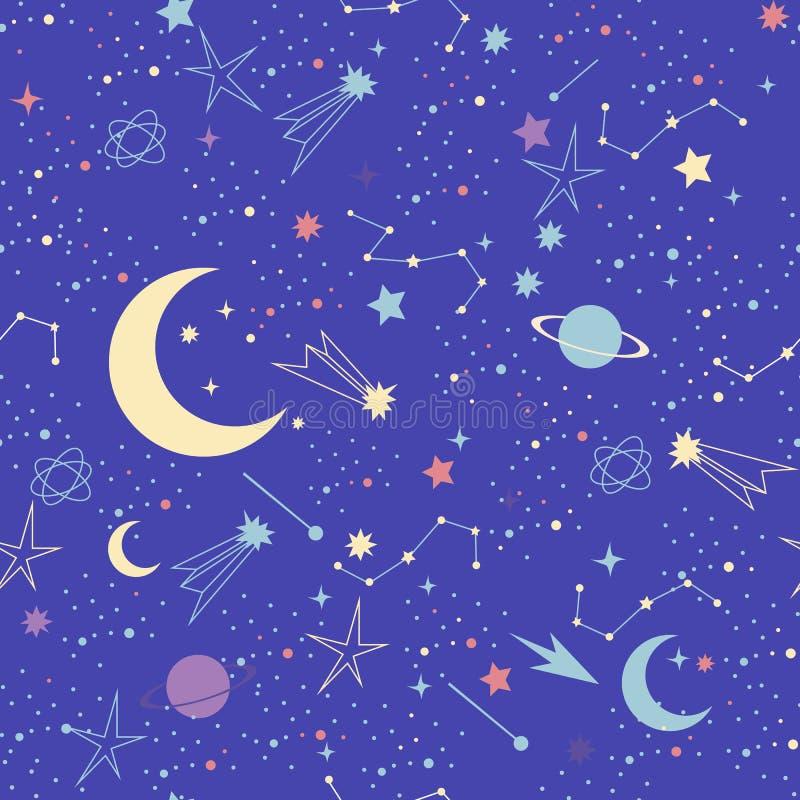 också vektor för coreldrawillustration Sömlös modell för utrymmegalaxkonstellation vektor illustrationer