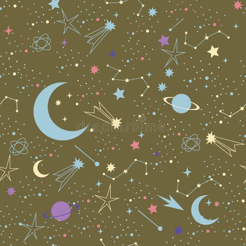 också vektor för coreldrawillustration Sömlös modell för utrymmegalaxkonstellation stock illustrationer