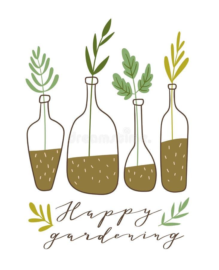 också vektor för coreldrawillustration Stilfull hem- dekor Eco affisch med text - 'lyckligt arbeta i trädgården ', stock illustrationer