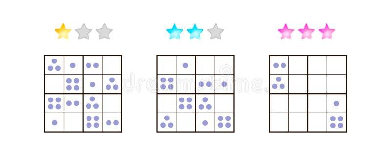 också vektor för coreldrawillustration Sudoku för ungar med bilder på olikt royaltyfri illustrationer