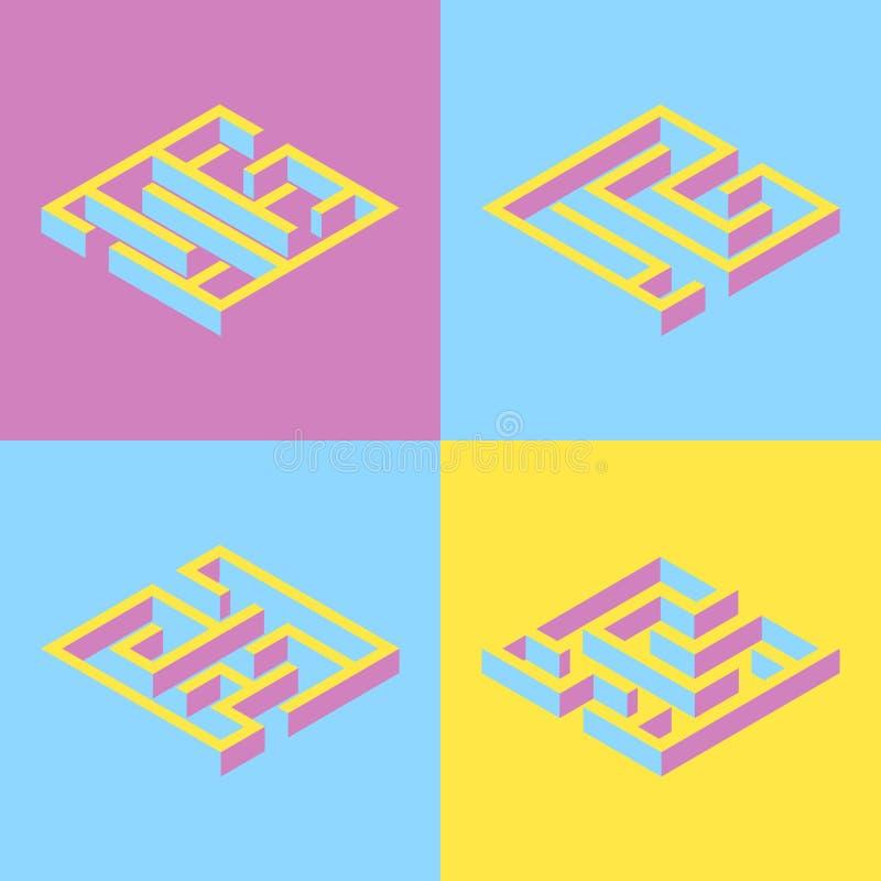 också vektor för coreldrawillustration uppsättning av fyrkantig labyrint för 4 abstrakt begrepp som är isometrisk Y royaltyfri illustrationer