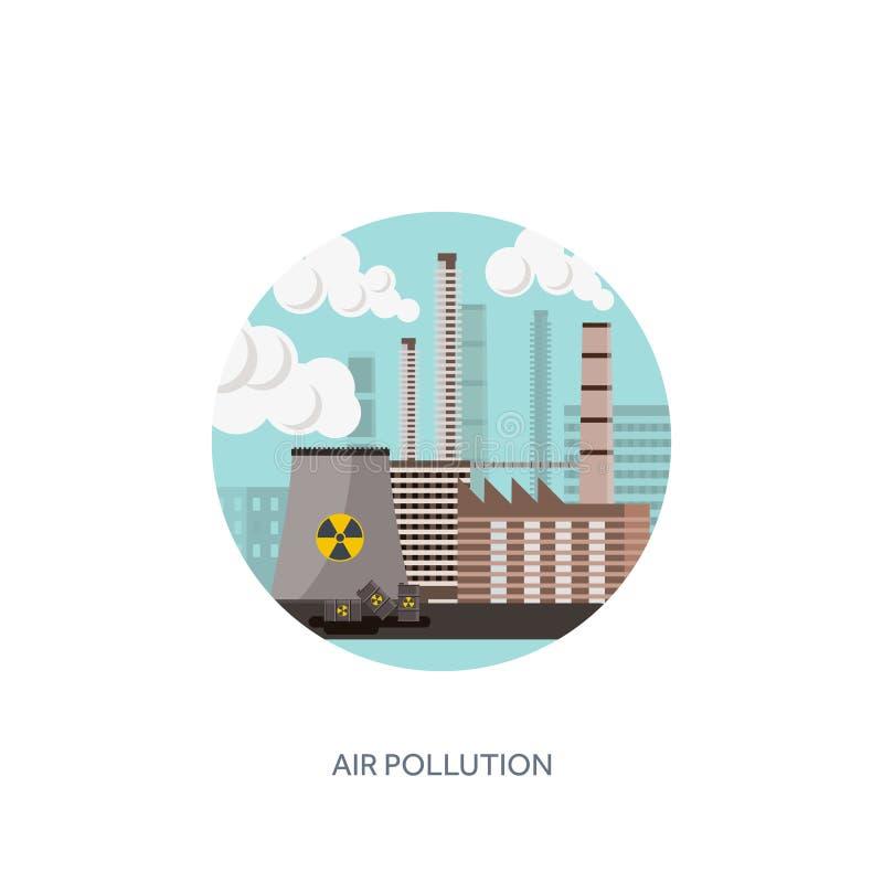 också vektor för coreldrawillustration Urbanisationindustrialisation industriell rotation rør Luftföroreningekologi Olja och gasa royaltyfri illustrationer