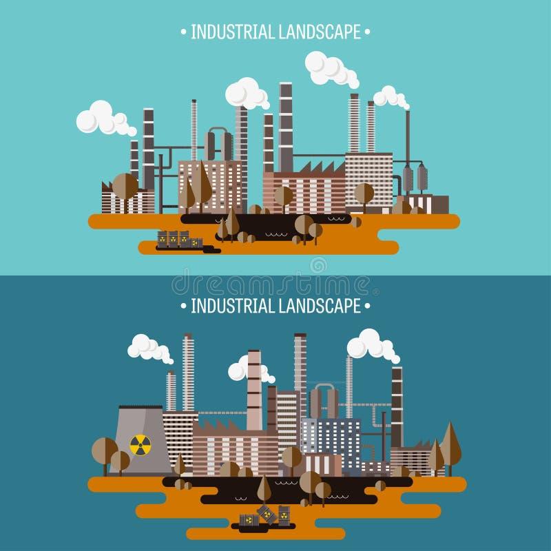 också vektor för coreldrawillustration Urbanisering och industriell revolution rør förorening för fabrik för luftbakgrund blå Fos stock illustrationer