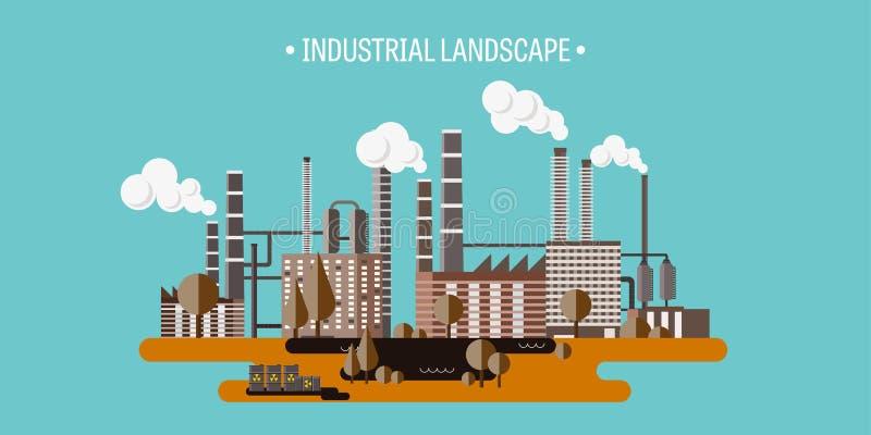också vektor för coreldrawillustration Urbanisering och industriell revolution rør förorening för fabrik för luftbakgrund blå Fos royaltyfri illustrationer