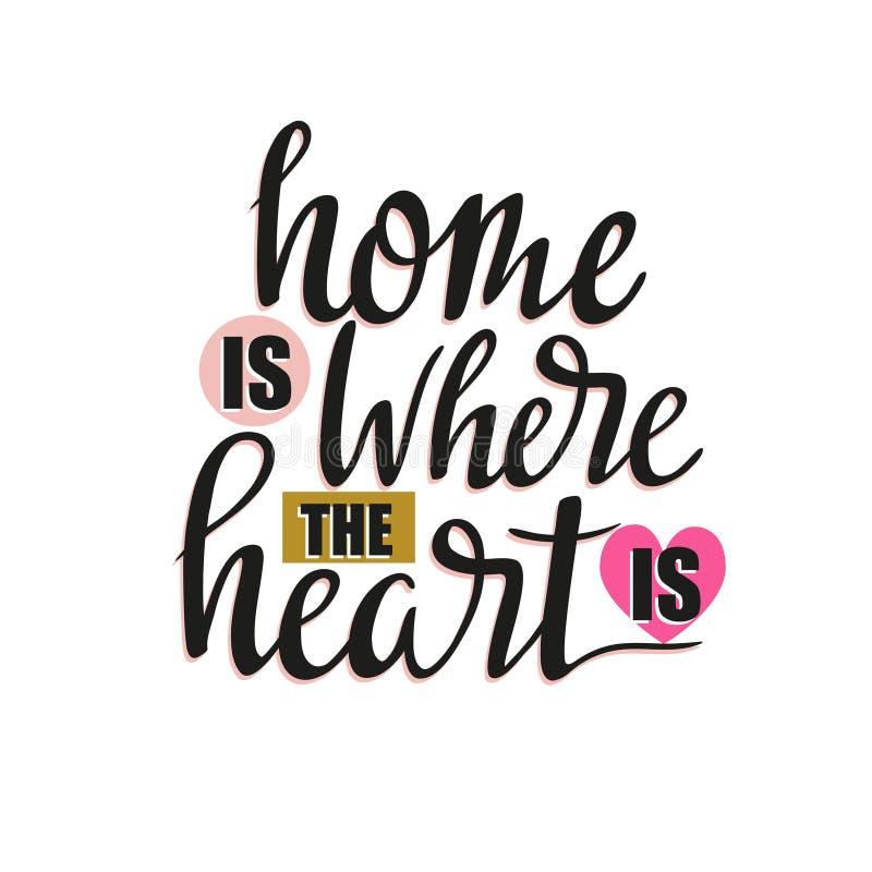 också vektor för coreldrawillustration Vit bakgrund med isolerad stilfull bokstäver - `-hemmet är var hjärtan är `, stock illustrationer