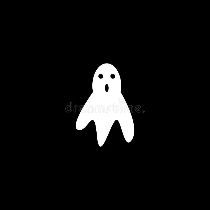 också vektor för coreldrawillustration Vit spökesymbol på svart bakgrund royaltyfri illustrationer