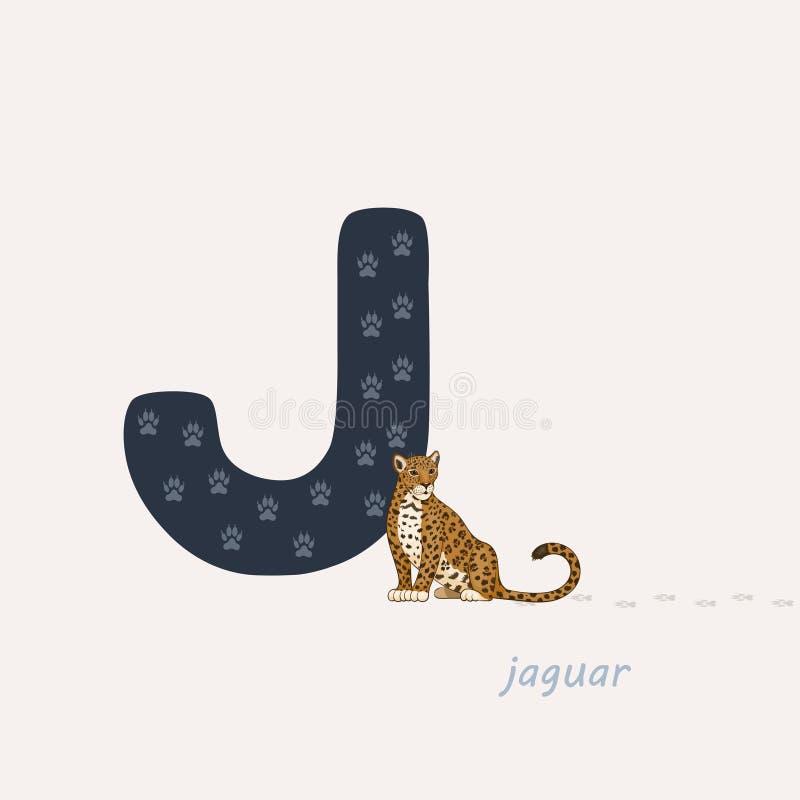 ocks? vektor f?r coreldrawillustration Blå bokstav J med jaguarfotspår, en tecknad filmjaguar f?r bakgrundsbilder f?r alfabet dju vektor illustrationer
