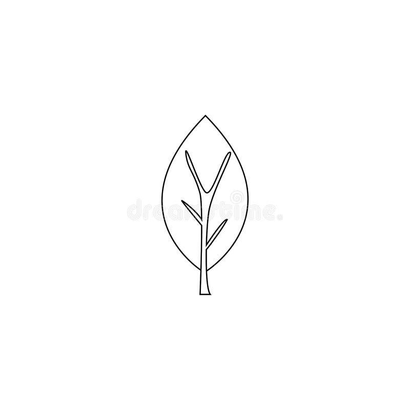 ocks? vektor f?r coreldrawillustration linje asp- träd som isoleras på vit bakgrund Asp- symbol royaltyfri illustrationer