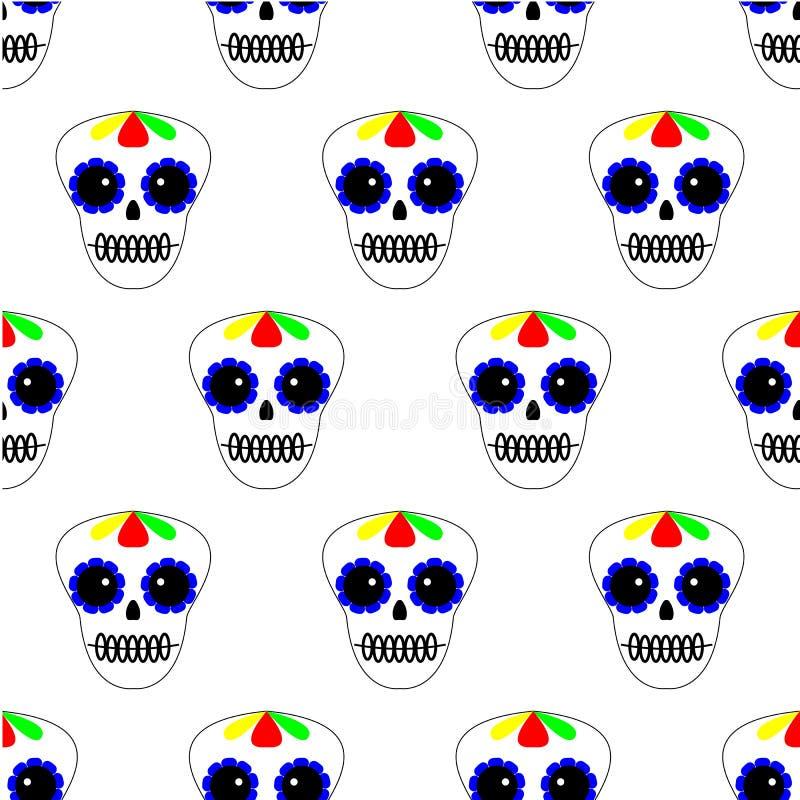 ocks? vektor f?r coreldrawillustration seamless modell d?d dag Symboler f?r diameter de los muertos p? vit bakgrund St?ll in av f royaltyfri illustrationer
