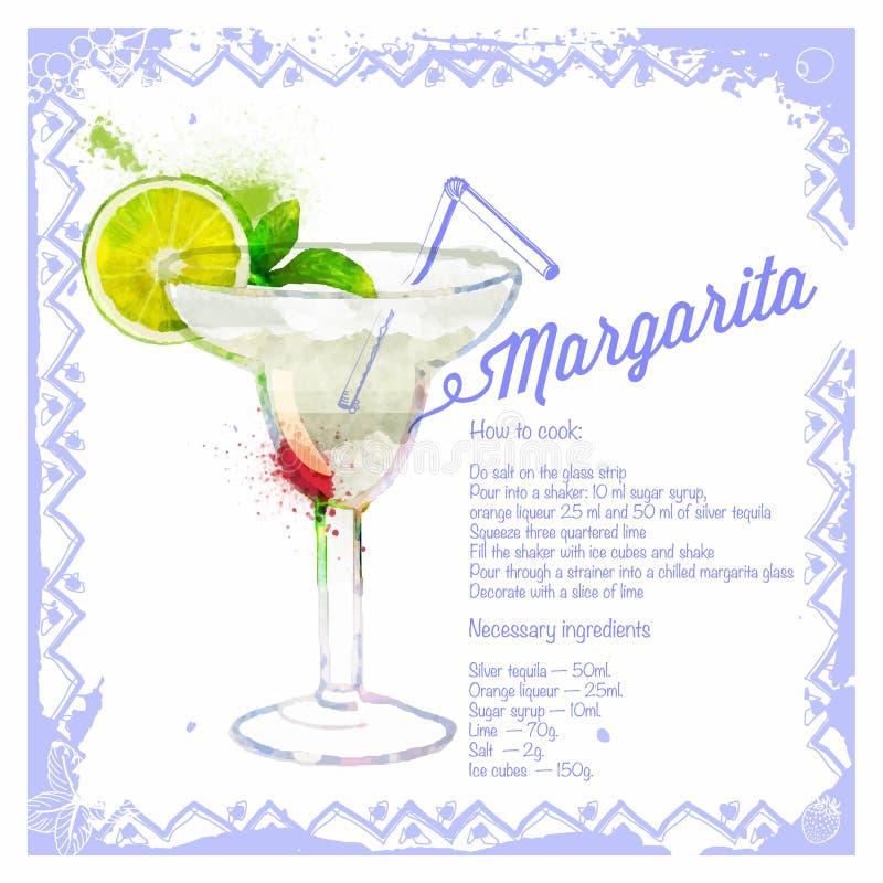 Ocktail Margarita do ¡ de Ð Aquarela tirada menu ilustração do vetor