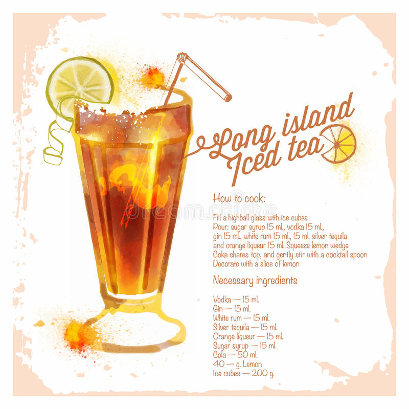 Ocktails long island iced tea stock vector for Cocktail recipe by ingredients