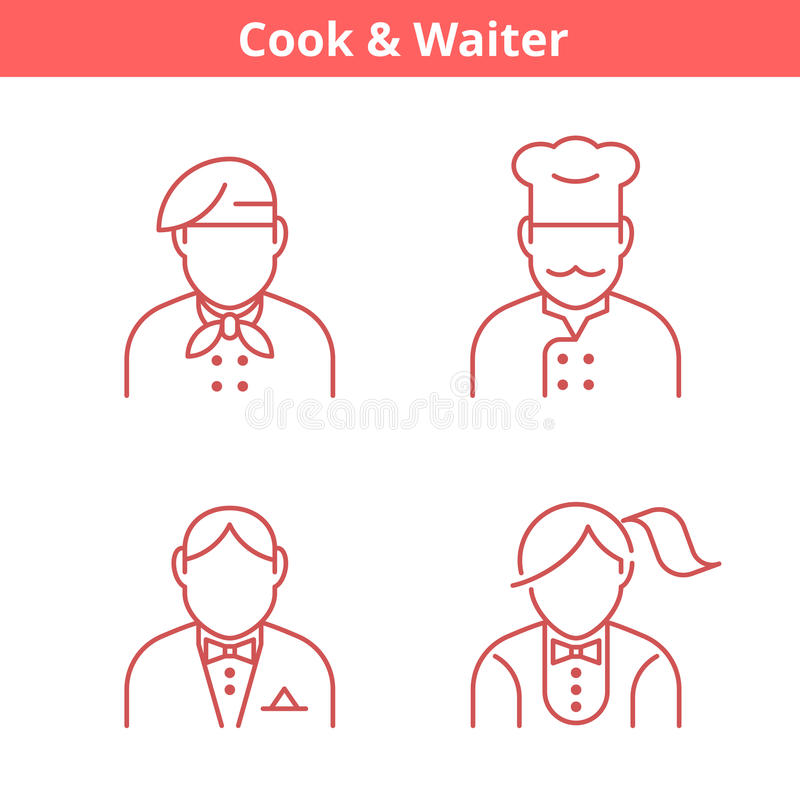 Ockupationavataruppsättning: kock kock, uppassare, bagare Gör översikten tunnare stock illustrationer