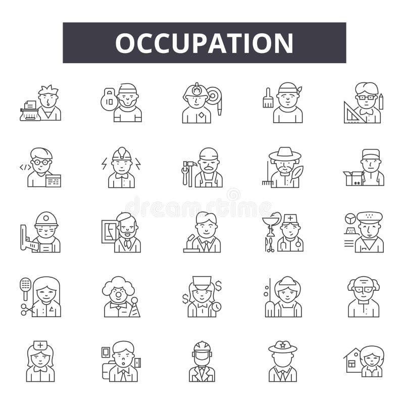 Ockupationlinje symboler, tecken, vektoruppsättning, linjärt begrepp, översiktsillustration stock illustrationer