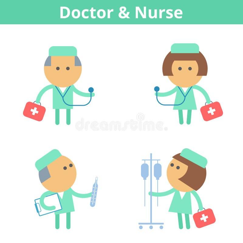 Ockupationtecknad filmtecken - uppsättning: doktor och läkare Vektorlägenhet royaltyfri illustrationer