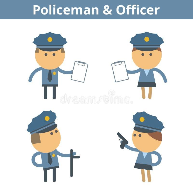 Ockupationtecknad filmtecken - uppsättning: polis och tjänsteman vektor stock illustrationer
