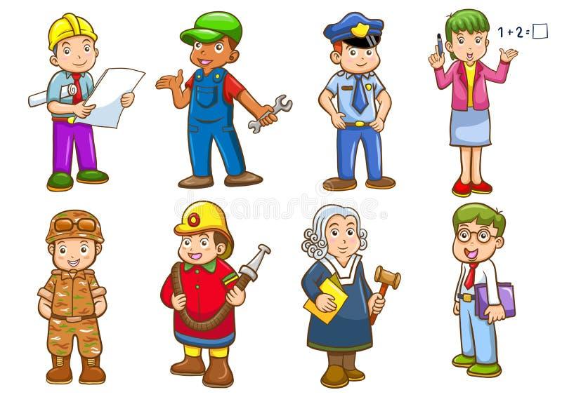 Ockupationuppsättning stock illustrationer