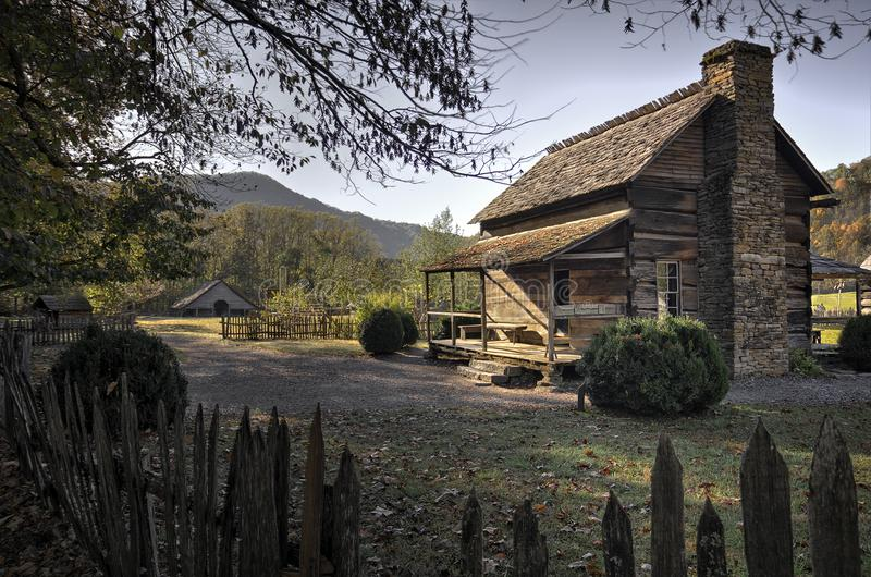Oconaluftee-Gebirgsbauernhof-Museums-Great Smoky Mountains-Staatsangehöriger stockfotos