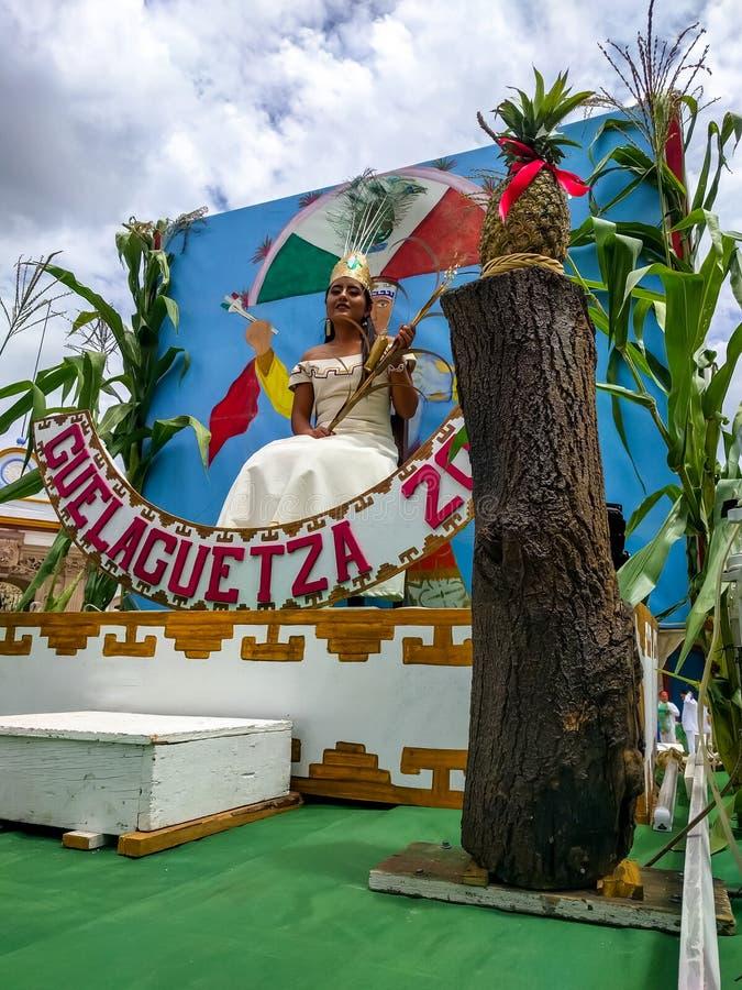 Ambassador for Guelaguetza 2017. OCOTLAN DE MORELOS, OAXACA, MEX.-July 24, 2017. Guelaguetza. The Ambassador for the local Guelaguetza celebration is seated on royalty free stock photography