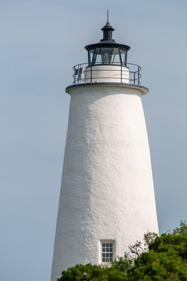 The Ocracoke Lighthouse and Keeper's Dwelling on Ocracoke Island royalty free stock photo