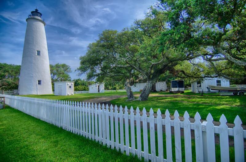 The Ocracoke Lighthouse and Keeper's Dwelling on Ocracoke Island royalty free stock photos