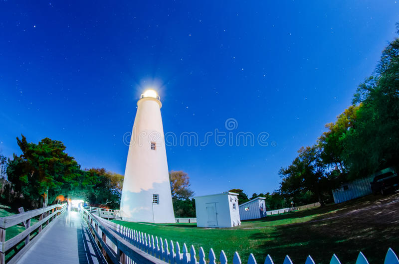 The Ocracoke Lighthouse on Ocracoke Island. On the North Carolina royalty free stock image