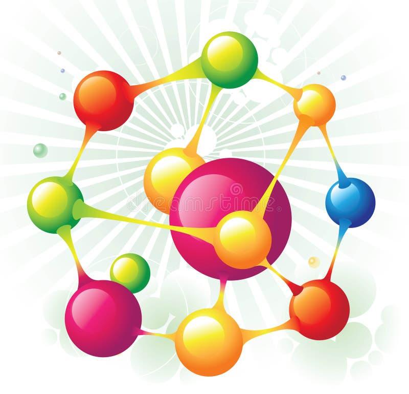 Octágono de la molécula ilustración del vector