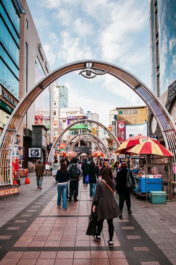 Colourful Shopping street in Busan International Film Festival stock photo