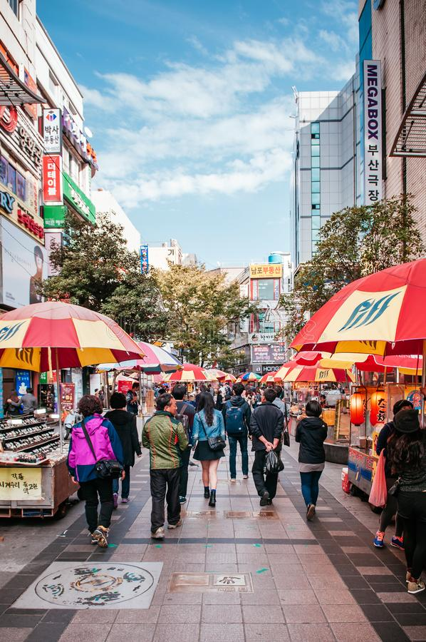 Colourful Shopping street in Busan International Film Festival royalty free stock image