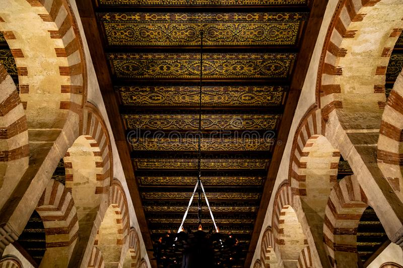 Oct 2018 - Cordoba, Spain - Amazing carved wooden roofs inside of Mezquita royalty free stock photo