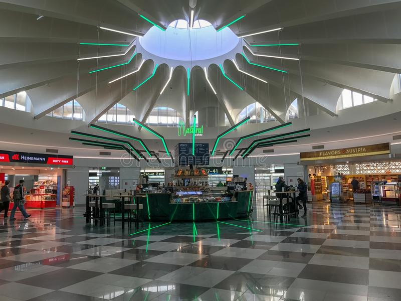 Food court at Vienna Airport, Austria stock photography