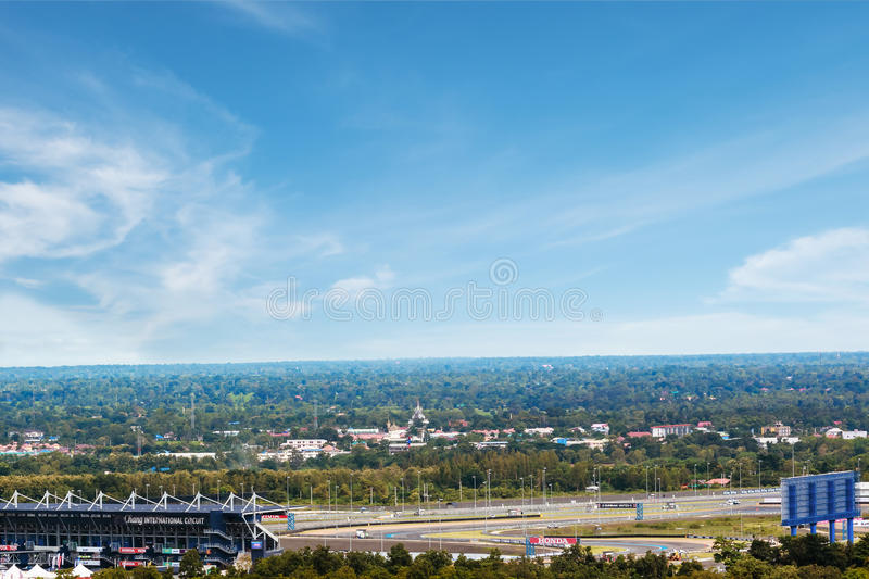 Oct 6, 2016, Landscape view of The Chang International Circuit, the motor sport race track in Buriram Province, Thailand. stock photos