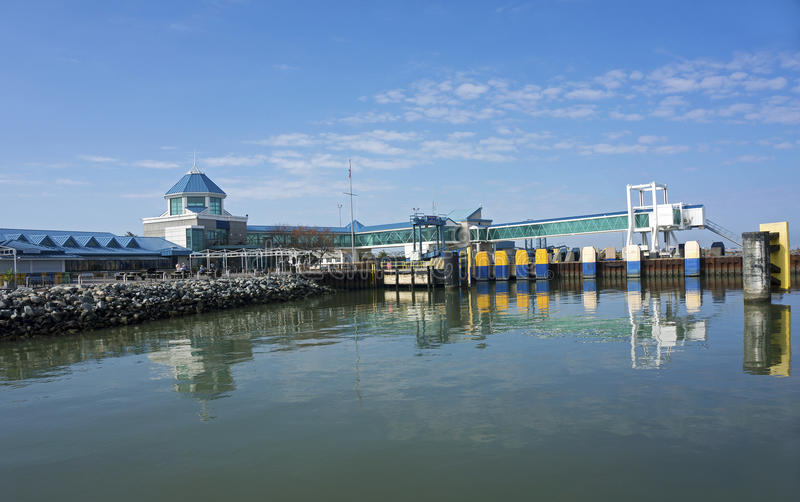 Oct 7, 2015 Lewes Delaware: Cape Henlopen car ferry arrives at the dock at Lewes Delaware. Lewes Delaware ferry terminal and dock in calm water wait for the stock photo
