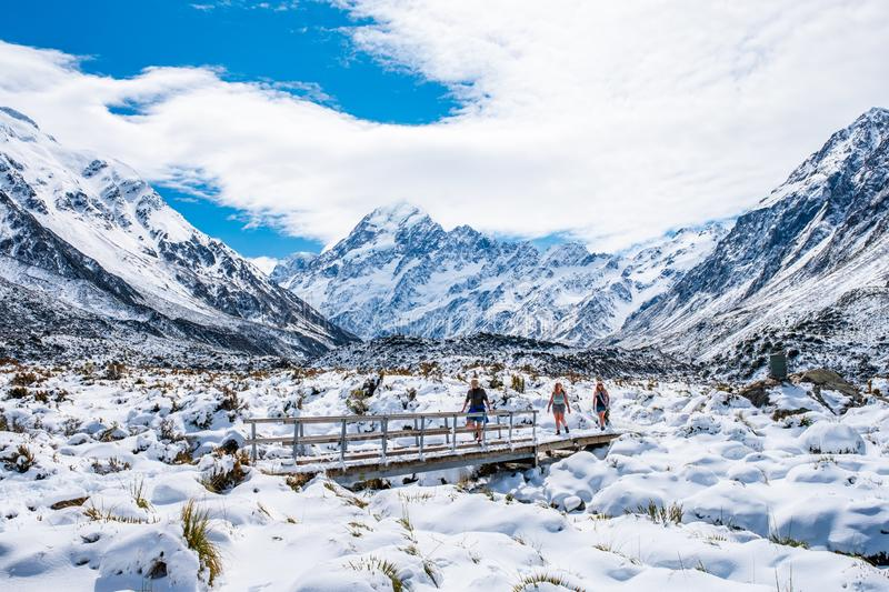 2018, Oct 13 - New Zealand, Mount Cook Natioanl Park, People walking on the boardwalk in Hooker Valley track. Winter snow after  royalty free stock image
