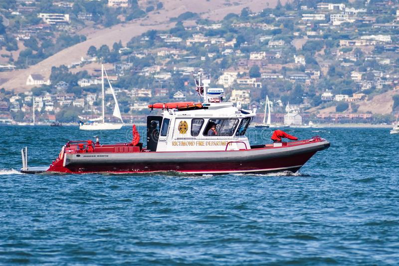 Oct 12, 2019 San Francisco / CA / USA - Richmond Fire Department boat patrolling the bay for the 39th Fleet Week event stock images
