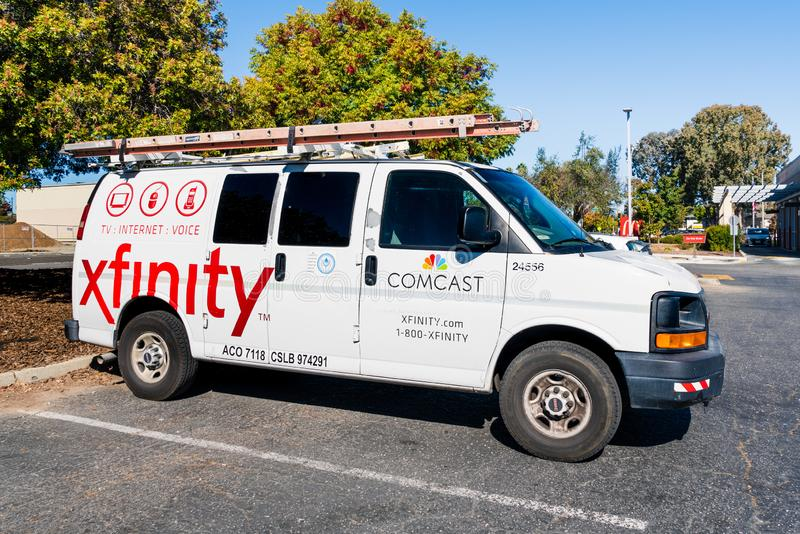 Oct 22, 2019 Santa Clara / CA / USA - Comcast Cable / Xfinity service stopped in a parking lot; Comcast is the largest home. Internet service provider in the royalty free stock photo