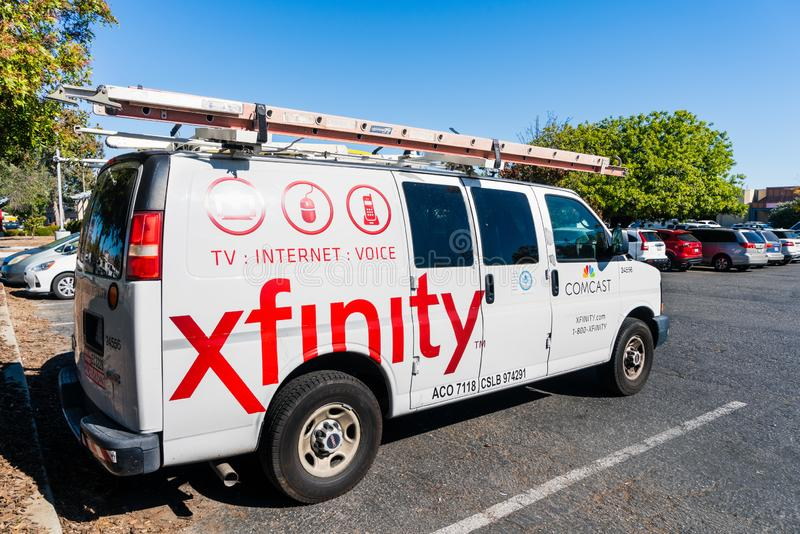 Oct 22, 2019 Santa Clara / CA / USA - Comcast Cable / Xfinity service stopped in a parking lot; Comcast is the largest home. Internet service provider in the royalty free stock photos