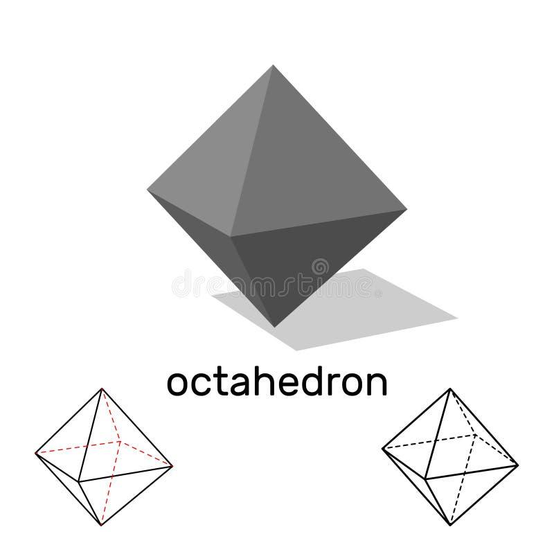 octaedro Dimensión de una variable geométrica Aislado en el fondo blanco Vecto ilustración del vector