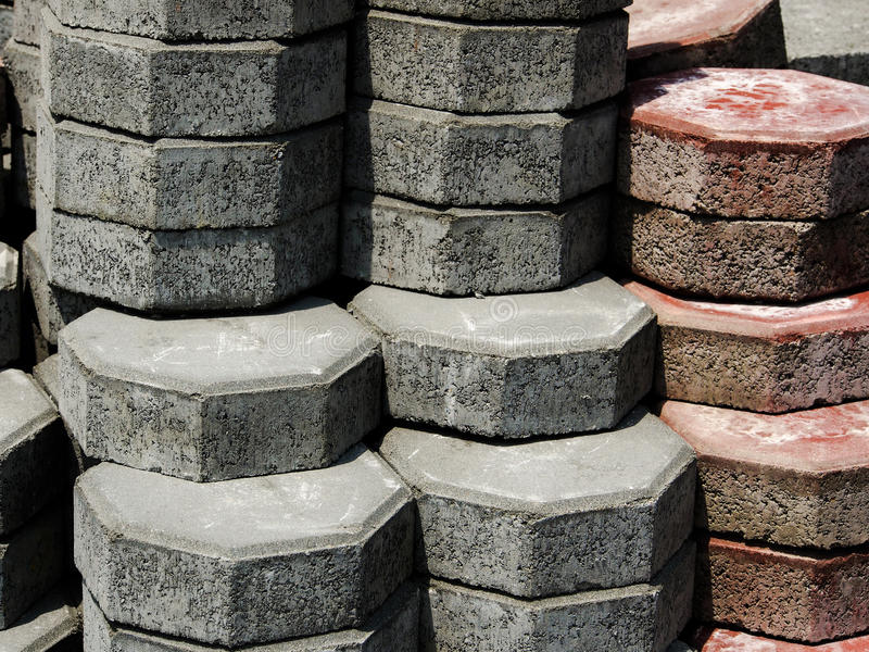 Octagonal brick. Pile of octagonal brick on a construction site. Octagonal brick used to make the pathway royalty free stock photo