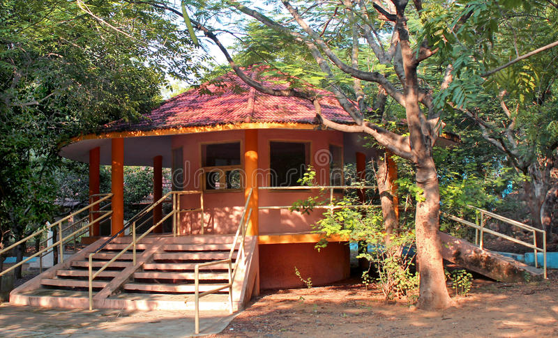 Octagonal building. In the park royalty free stock photos