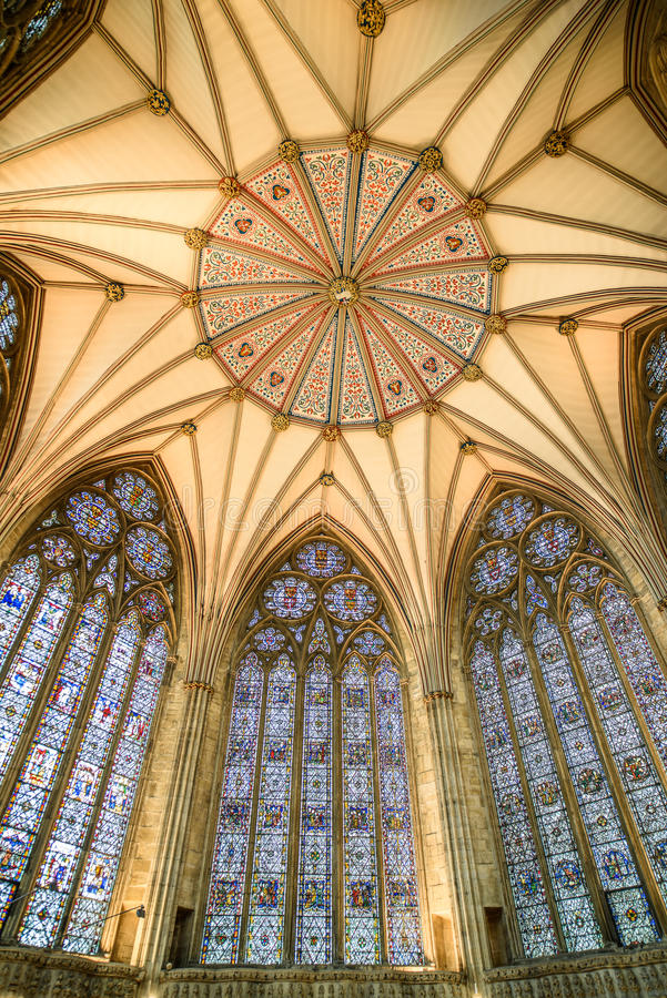 Octagonal ceiling of chapter house at York minster (cathedral) royalty free stock photos