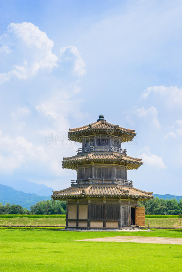 Octagonal Drum Tower ( A part of Kikuchi castle). This is Japans first excavated octagonal structure in ancient hill fort. This building has three layers and its royalty free stock photo
