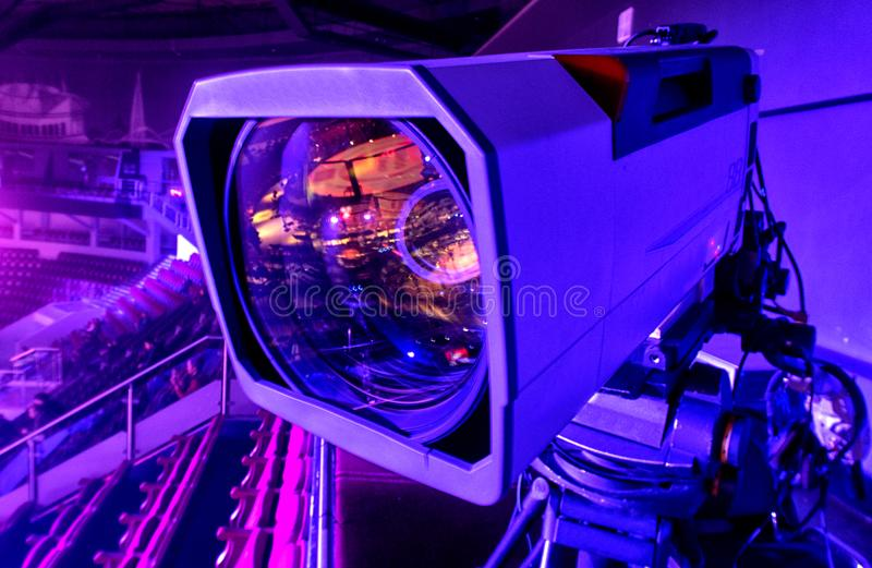 Tv camera in competitions in mixed martial arts. Octagonal for fights without rules, tv camera in competitions in mixed martial arts royalty free stock photography