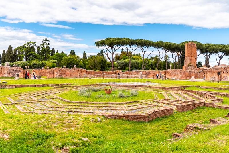 Octagonal fountain at Domus Flavia on Palatine Hill, Rome, Italy.  royalty free stock images