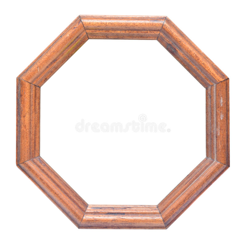 Octagonal frame. Octagonal wooden frame with clipping path royalty free stock photo