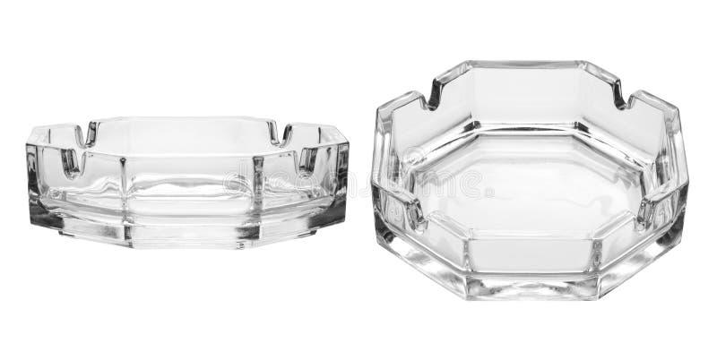 Octagonal glass ashtray. Isolated on white background stock images