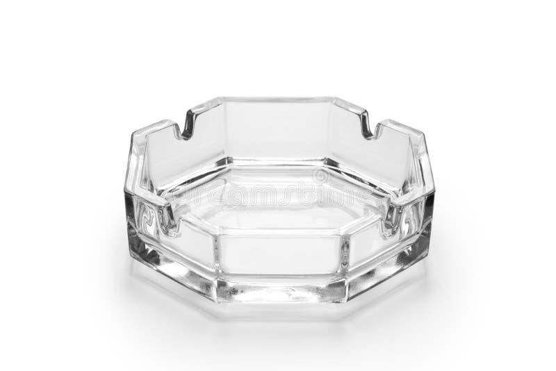 Octagonal glass ashtray. Isolated on white background stock photos