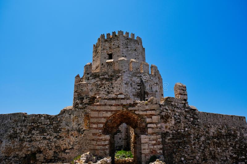 Medieval Methoni Castle Tower, Peloponnese, Greece. The octagonal Ottoman Methoni Castle Tower, or Bourtzi, Methoni, Messenia, Southwestern Peloponnese, Greece stock photography