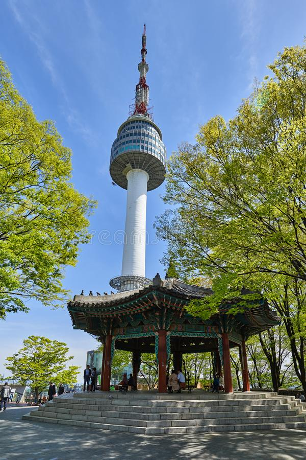 Octagonal Pavilion in Namsan Mountain. Seoul, Korea - April 26, 2017: Octagonal Pavilion in Namsan mountain. Namsan located in central Seoul is one of the famous royalty free stock photos