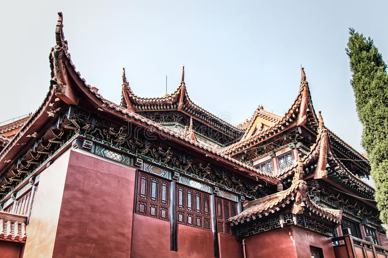 The Octagonal Pavilion. At Zhaojue Temple, Chengdu, Sichuan Province, China royalty free stock photography